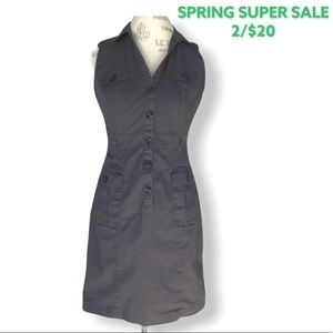 H&M Button-Up Dress with Pocket and Collar in Grey